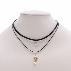 Find More Choker Necklaces Information about Crystal  Fish Bone Pendant Black Multilayer Leather Choker Necklace Vintage Jewelry Gift For Women & Teen Girls,High Quality leather choker,China bone pendant Suppliers, Cheap necklace vintage from Winslet&Jean on Aliexpress.com