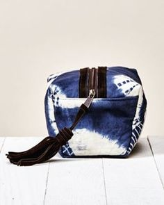 The perfect cosmetic bag -- with leather tassel and tie dye details
