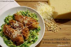 Gluten Free Parmesan Fried Chicken with Pesto Zucchini Noodles, Spaghettable