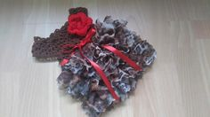 Leopard baby dress,crochet infant outfit baby dress with ruffles, baby first outfit, brown baby outfit by paintcrochet on Etsy