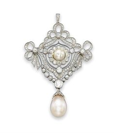A BELLE EPOQUE PEARL AND DIAMOND BROOCH, The old-cut diamond openwork plaque of garland design centering upon a pearl within a diamond foliate surround, suspending a collet-set old-cut diamond swag, to the diamond capped drop-shaped pearl, circa 1905, 8.2 cm long