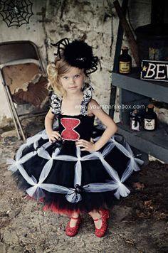 cute Black widow flower girl idea.