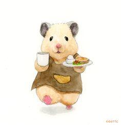 Cute Animal Drawings, Cute Drawings, Japanese Hamster, Rainy Day Drawing, Hamster Live, Die Dinos Baby, Funny Dog Jokes, Baby Animals, Cute Animals
