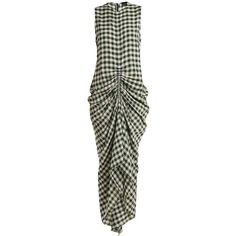 Joseph Zadie sleeveless ruched gingham dress (€495) ❤ liked on Polyvore featuring dresses, green white, ruched dress, gingham check dress, no sleeve dress, shirring dress and rouched dress