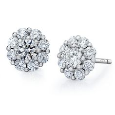 This diamond stud earring set features a cluster of round brilliant diamonds in LVE's unique white gold setting. Post and ear nut closure. Gold Diamond Earrings, Gemstone Earrings, Diamond Jewelry, Silver Jewelry, Stud Earrings, Diamond Stud, Jewelry Gifts, Handmade Jewelry, Jewellery