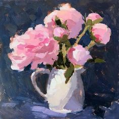 """Daily Paintworks - """"#349 Peonies in a Ceramic Jug 12x12"""" - Original Fine Art for Sale - © Clare Bowen"""