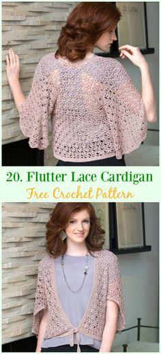 Flutter Lace Cardigan Free Crochet Pattern - #Crochet; Women Summer Jacket #Cardigan; Free Patterns