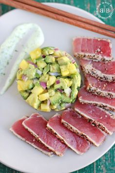Busy in Brooklyn » Blog Archive » Pepper Crusted Tuna Sashimiwith Pineapple Guacamole & Herbed Crema