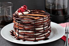 Chocolate Pancake Cake by zoomyummy: For a special Sunday or with candles for a birthday! #Pancake_Cake #zoomyummy