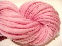 handspun yarn Pink thick and thin bulky singles merino yarn, 102 yards, merino wool top