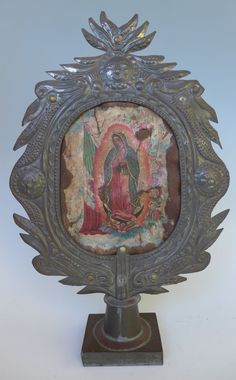 "Vintage Mexican tin nicho stand w/Virgin of Guadalupe retablo 16 1/4"" x 10 1/4"""