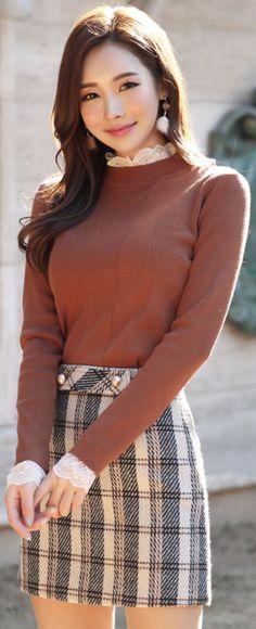 StyleOnme_Gold Button Check Print Mini Skirt #check #miniskirt #koreanfashion #kstyle #kfashion #dailylook #seoul