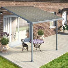Toit de terrasse 300x300cm en alu gris anthracite et polycarbonate 8mm PATIO en vente chez mon-abri-de-jardin.com, le spécialiste des toits de terrasse en aluminium livrés à domicile