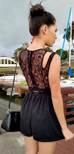 Tobi Black Adorable Lace Back Romper by Hapa Time . I need this !!!