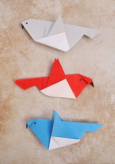 Simple Origami birds for kids