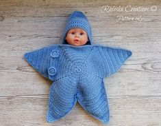 Crochet Pdf Pattern- Star baby bunting- Baby cocoon / 0-3 months