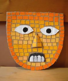 Mesoamerican study, students made Aztec masks using cardboard and painted paper. Paper Art Projects, Projects For Kids, Aztec Mask, 5th Grade Art, Spanish Art, Inca, Art Lessons Elementary, We Are The World, Mexican Art
