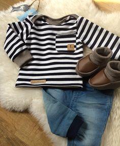 Nähen Baby Junge, Oberteil Pullover, amerikanischer Ausschnitt Hals, aufgesetzte Tasche, Logo Snap pap, Bündchen