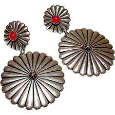 Native+American+Navajo+Sterling+Silver+Coral+Concho+Design+Pierced+Dangle+Statement+Earrings
