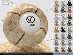 Vray Marble and Vray Granite Materials 3D Модель .max .c4d .obj .3ds .fbx .lwo .stl @3DExport.com by ARHIGREGDESIGN