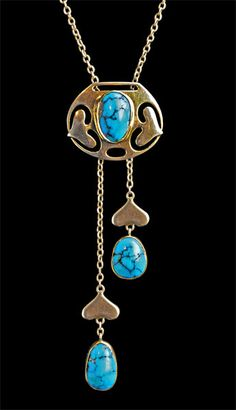 This is not contemporary - image from a gallery of vintage and/or antique objects. MURRLE BENNETT & Co Jugendstil Slide Pendant Gold Turquoise