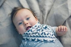 Baby Dylan wearing Fable Baby organic cotton Animal Bandana Bib (AUD$19) and Grey Spot Placket Tee (AUD$45)