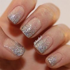 knailart's nails! Show us your tips—tag your nail photos with to be featured on our social sites! – The Best Nail Designs – Nail Polish Colors & Trends Silver Glitter Nails, Glitter Nail Art, Holographic Glitter, Glitter Gradient Nails, Nails With Glitter Tips, Silver Sparkly Nails, Glitter Ombre Nails, Dark Gel Nails, Gold Sparkle Nails