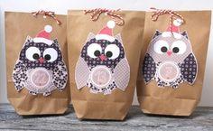 Adventskalender Eulen Set 24 Geschenktüten DIY