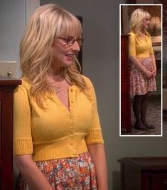 Bernadette's orange floral dress, yellow cardigan and brown tights on The Big Bang Theory