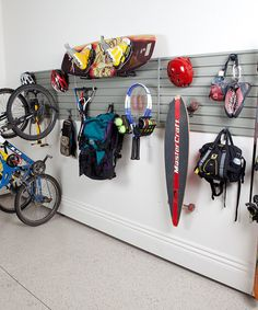 Gearheads might own their weight in equipment, but those without space to match can make use of this efficient organizer. The modular panels turn any wall into a customizable organizing canvas using a patented ''click and stick'' friction-locking system that keeps hooks in place. In this set, there are hangers designed specifically for skis, rackets and bikes, along with multi-purpose hooks for climbing gear, boards, pac...