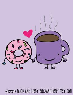 Donut Loves Coffee 8.5 x 11 Illustration Print by Buck and Libby We Belong Together series. $20.00, via Etsy.