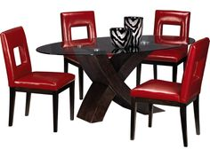Our Xavier line of home furnishings blends comfort, style and stunning features to enhance your dining experience.      Table has a tempered glass table top and a striking, all-wood construction X curvature table base.     Base features a black merlot wood finish.     Each side chair provides the perfect seating pitch with a 360 degree all-wood base and durable bicast upholstery.     This 5-piece package includes a 42 x 72 oval glass Table with four upholstered Side Chairs.     Availab