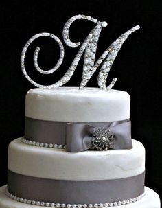 5 inch monogram cake topper decorated with pearls and swarovski crystals in any letter a b c d e f g h i j k l m n o p q r s t u v w x y z