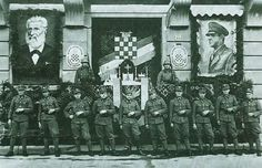 Croatian Nazis celebrating Ante Starcevic, the father of genocidal heterodox of Serbs, and Ante Pavelic, the führer of Independent state of Croatia. Both are celebrated today, the first in open, the second in secret.