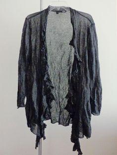 Eileen Fisher knit jacket lagenlook sweater artsy art to wear artist crinkled M  #EileenFisher #BasicJacket
