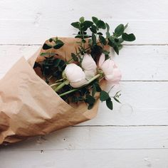 Flowers in brown paper