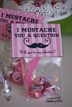 Mustache Girls PINK Candy and Valentine  by CupcakeCutieesParty, $4.00