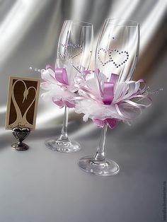 """Купить Свадебные бокалы для шампанского """" Сирень"""" - белый, свадьба, свадебные аксессуары, свадебные бокалы"""
