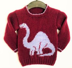 Sweater Jumper with Dinosaur Knitting Pattern by iKnitDesigns