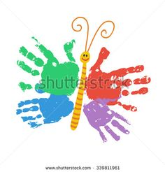 Handprint butterfly smiling. Colorful kids palm print. Children hand print art and crafts. Happy childhood concept. Preschool / primary school design element. Vector illustration isolated on white