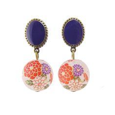 Red Stud Floral Bead Earrings