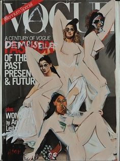 Picasso's Les Demoiselles d'Avignon (1907) redrawn on a Vogue cover by Andrea Mary Marshall
