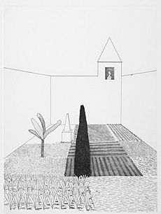 Artist: David Hockney  Title: Rapunzel Growing in the Garden  Medium: Etching and aquatint  Image size: 43.5cm x 32.7cm