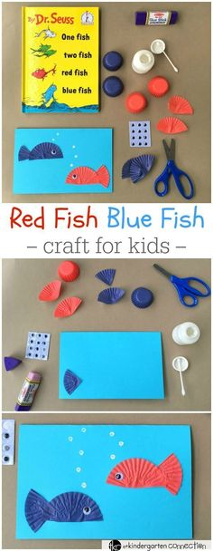 """Seuss Day Craft for Kids This Dr. Seuss day craft is perfect for after reading """"One Fish Two Fish Red Fish Blue Fish!"""" Make a fun card and work on writing skills as well! Dr. Seuss, Dr Seuss Week, Red Fish Blue Fish, One Fish Two Fish, Rainbow Fish, Daycare Crafts, Classroom Crafts, Classroom Activities, Kindergarten Art"""