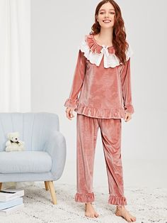 Product name: Ruffle Hem Knot Detail Velvet Pajama Set at SHEIN, Category: Pajama Sets Night Suit For Girl, Girls Night Dress, Night Dress For Women, Cute Sleepwear, Girls Sleepwear, Pajama Outfits, Indian Designer Suits, Casual Day Dresses, Stylish Dress Designs