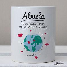 www.mugnificas.es Tazas para regalar. Diseños originales. Frases con diseño. Taza Besos de Abuela. Regalos para abuelas.