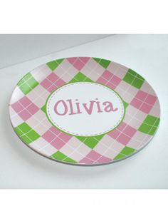 Look at this pink and green argyle melamine plate that Swanky Press designed and personalized for my daughter!  We've done Christmas cards with them too.  So great to work with!