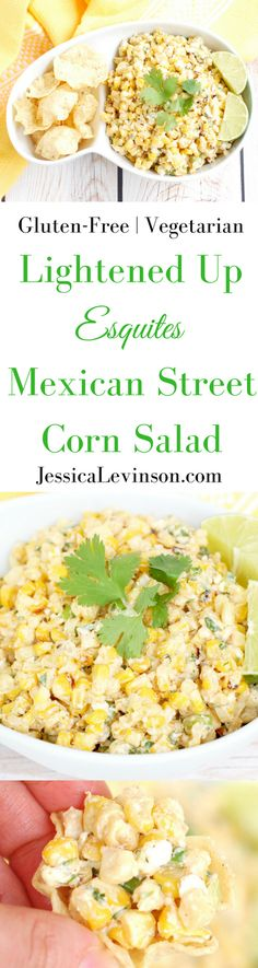 This lighter version of the classic Esquites Mexican street corn salad is made with low-fat plain yogurt instead of mayonnaise to save on calories without sacrificing flavor. Serve as an appetizer with corn chips or as a side dish for your next Taco Tuesd Mexican Food Recipes, Real Food Recipes, Vegetarian Recipes, Healthy Recipes, Vegetarian Mexican, Mexican Dishes, Healthy Dinners, Free Recipes, Yummy Food