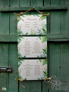 Nyári Esküvő, Ültetési rend, Esküvői Ültetésrend, Trópusi, levelek, Esküvő ültető kártya, Zöld, Party, Esküvő, Naptár, képeslap, album, Meghívó, ültetőkártya, köszönőajándék, Esküvői dekoráció, Fotó, grafika, rajz, illusztráció, Papírművészet, Meska