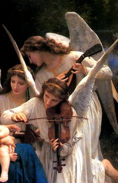"""BOUGUEREAU, William Adolphe (1825-1905) Song of the Angels, detail 1881 Ed. Orig. Lic. Ed. """""""